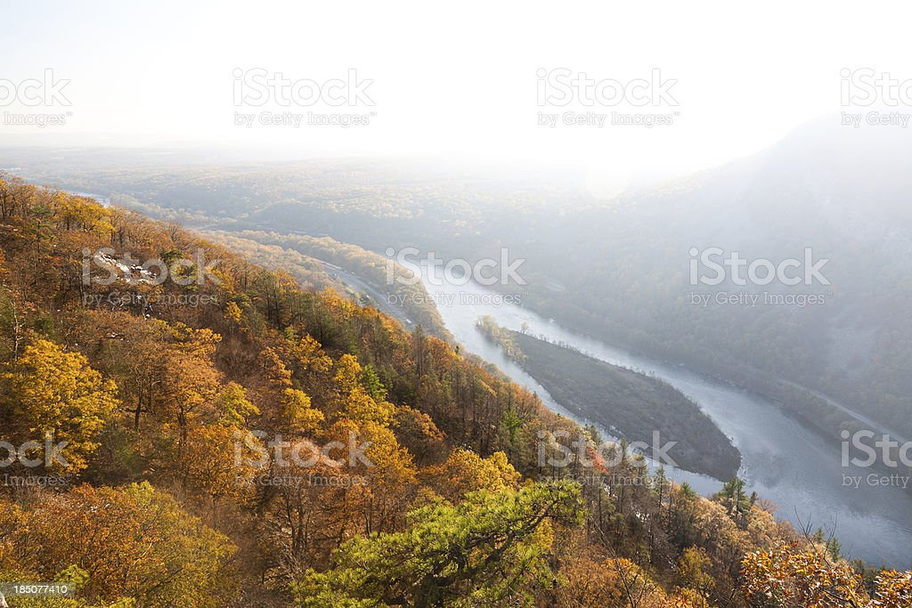 Delaware River from Mt. Tammany, New Jersey stock photo