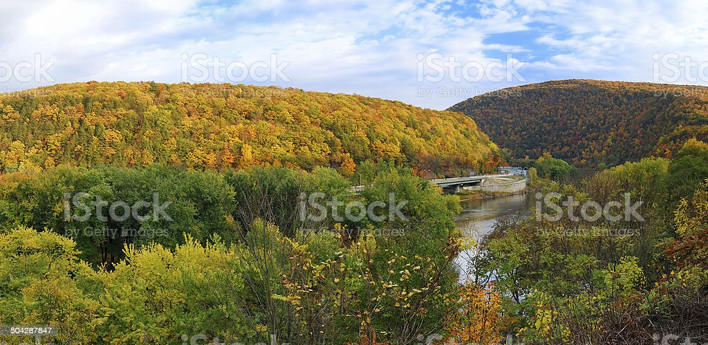 Delaware Water Gap panorama in Autumn stock photo
