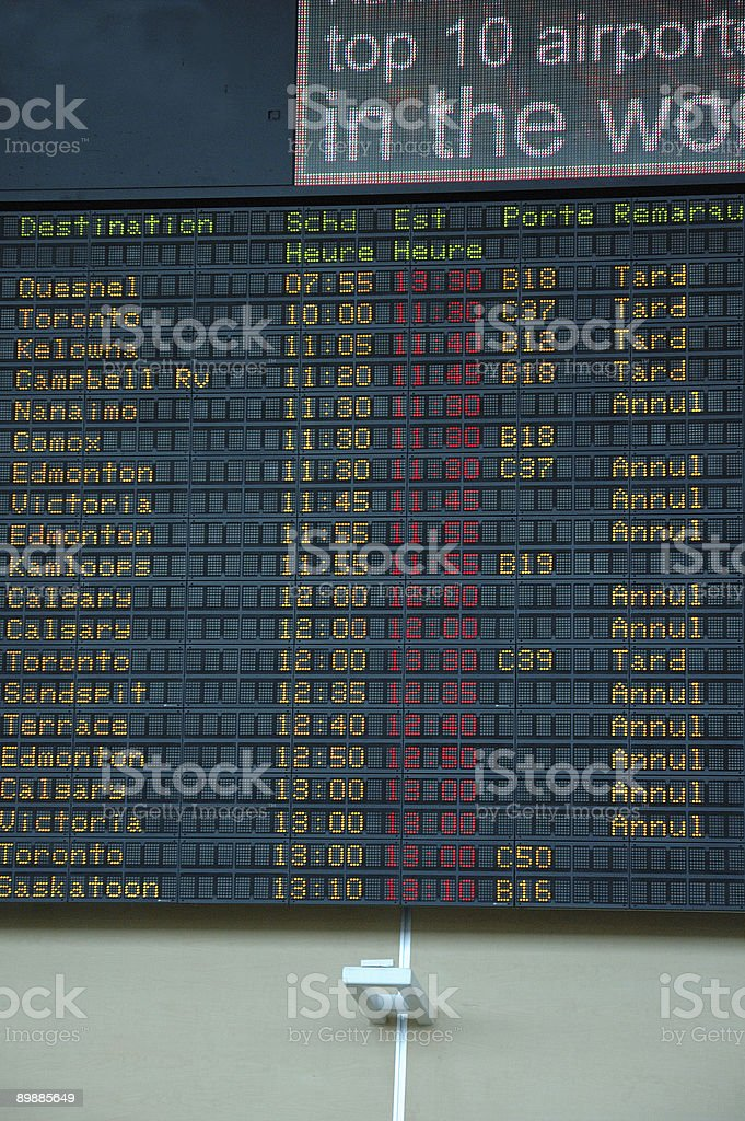 Delayed and Cancelled flights at an airport stock photo