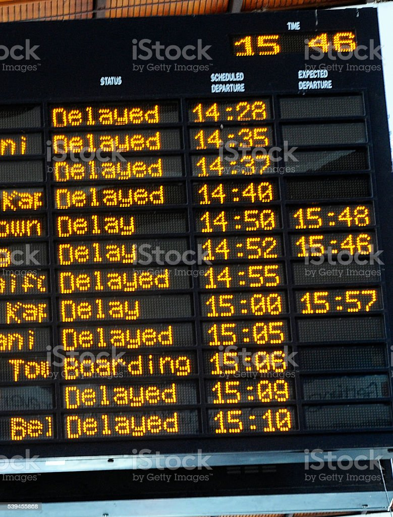Delayed board at station or airport stock photo