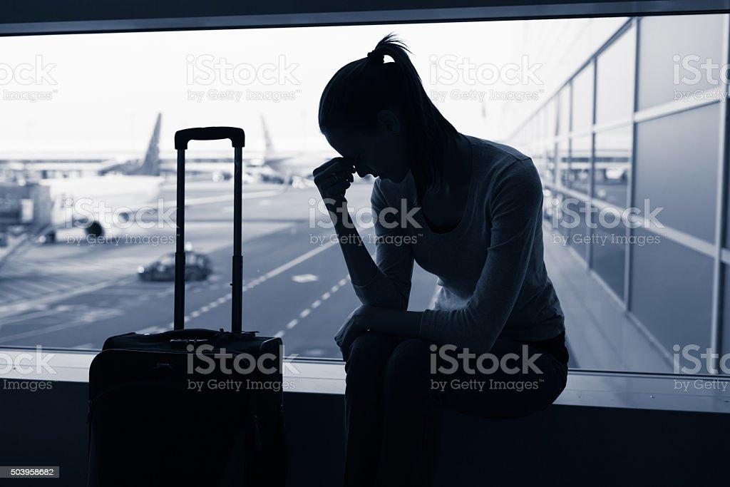 Delayed flight stock photo