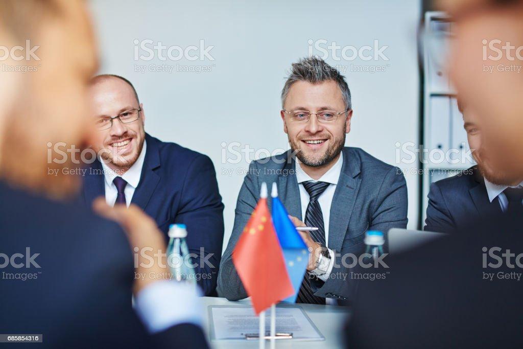 Delegates at meeting stock photo