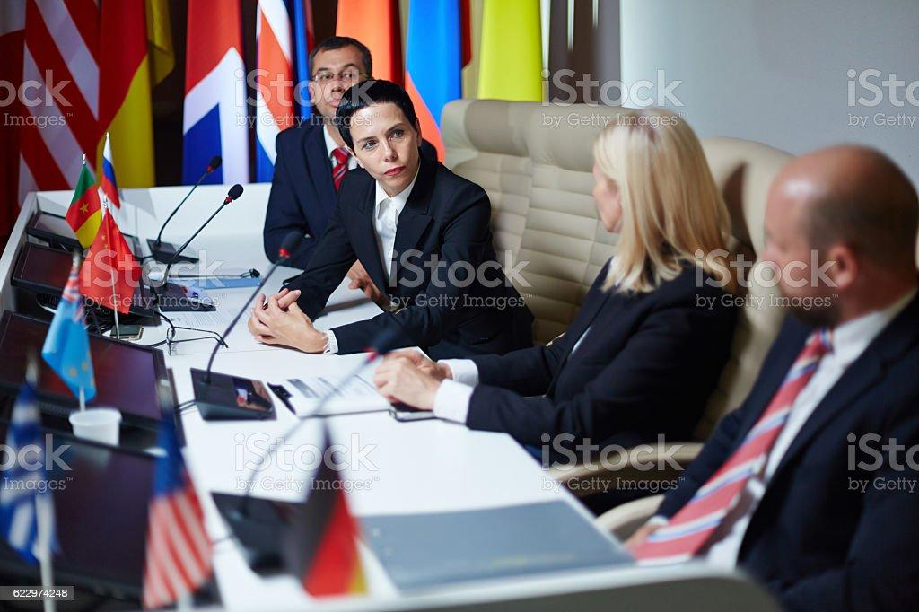 Delegates at summit stock photo