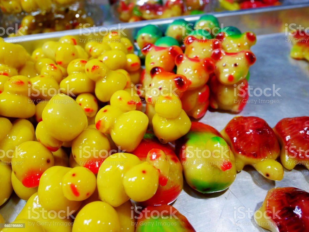 Deletable Imitation Fruits and Animals (Kanom Look Choup) stock photo