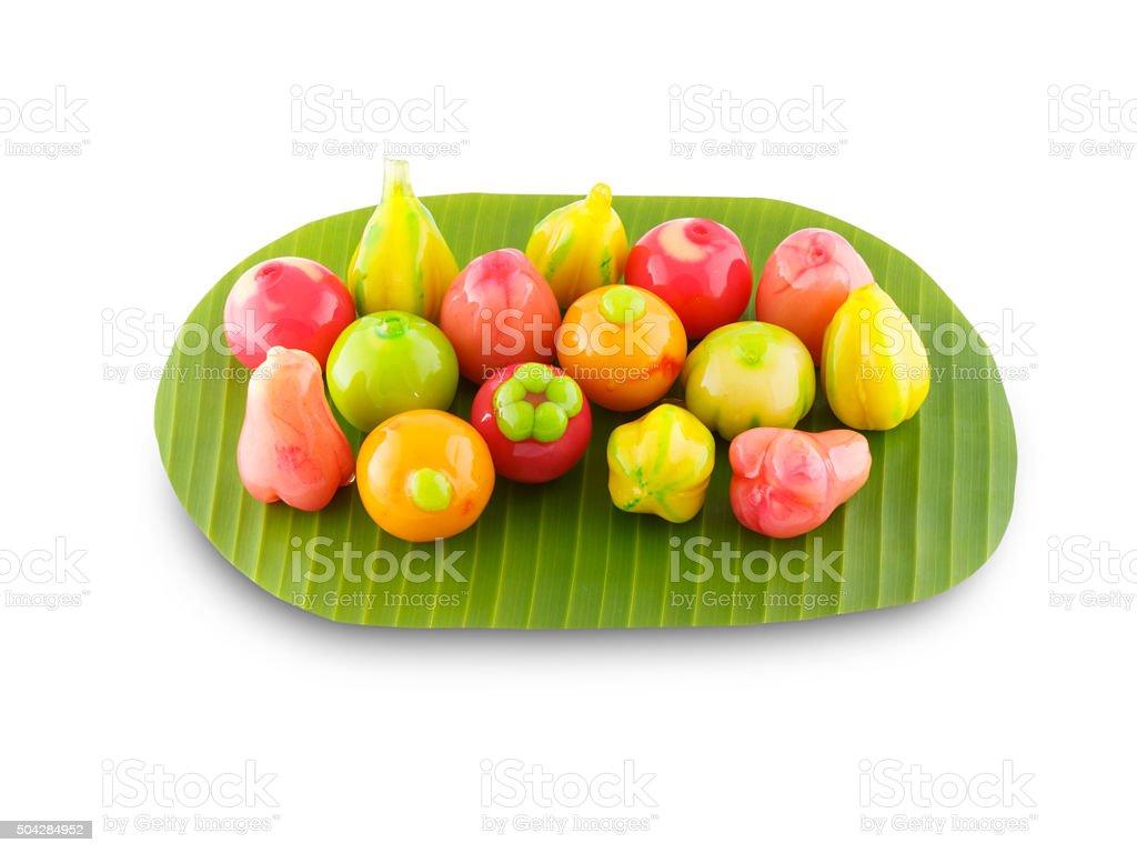Deletable imitation fruits thai dessert on the white background stock photo