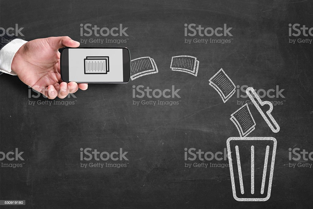Deleting file to recycle bin stock photo