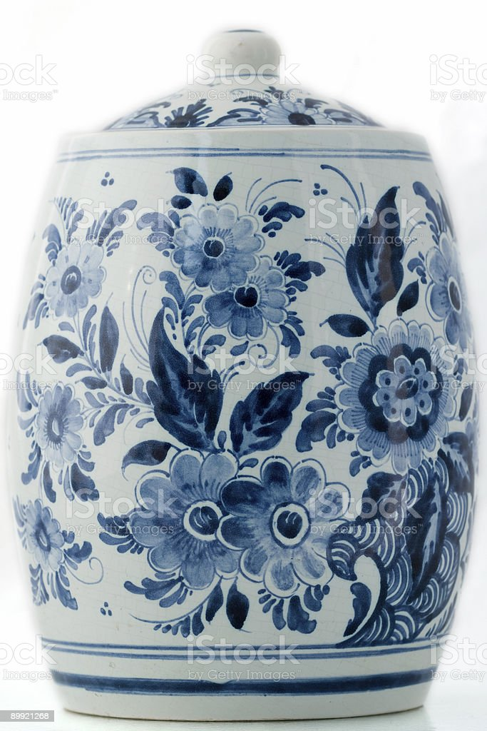 Delft blue pot stock photo