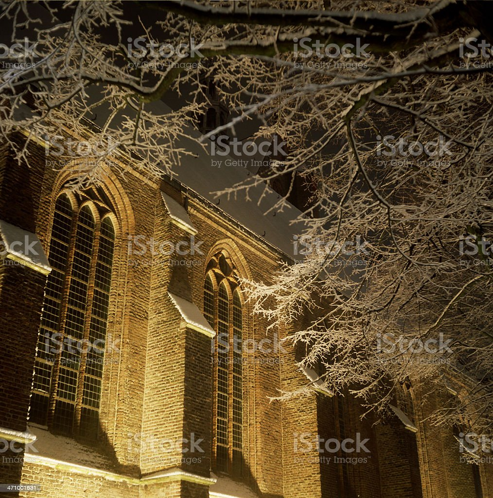 Delft by night - The old church stock photo
