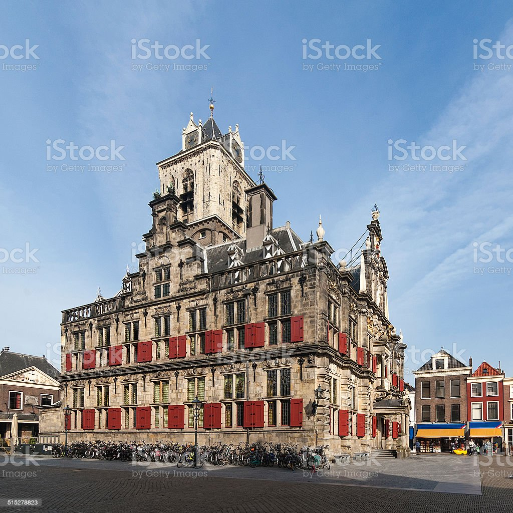 Delft > historic center | townhall three quarter view stock photo