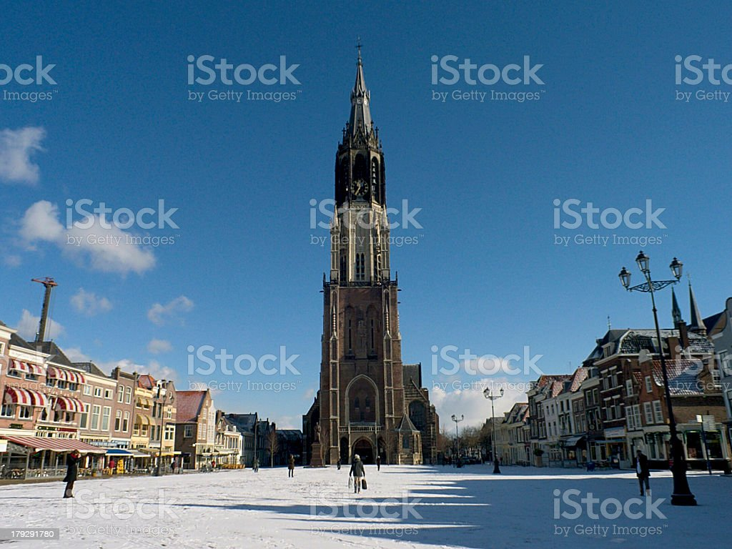 Delft- new church & snow royalty-free stock photo