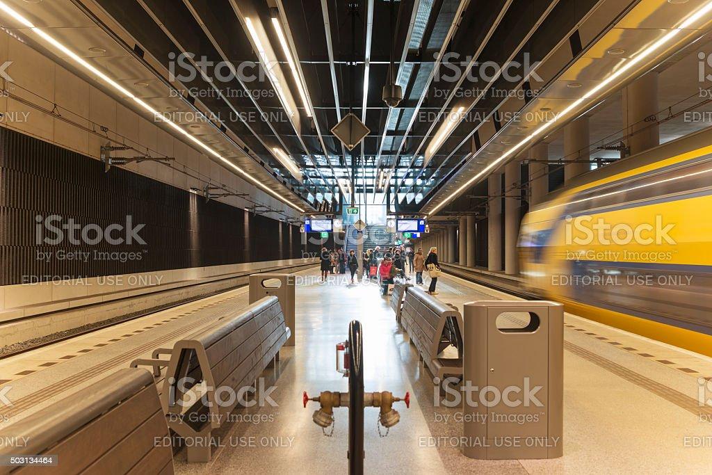 Delft train station stock photo