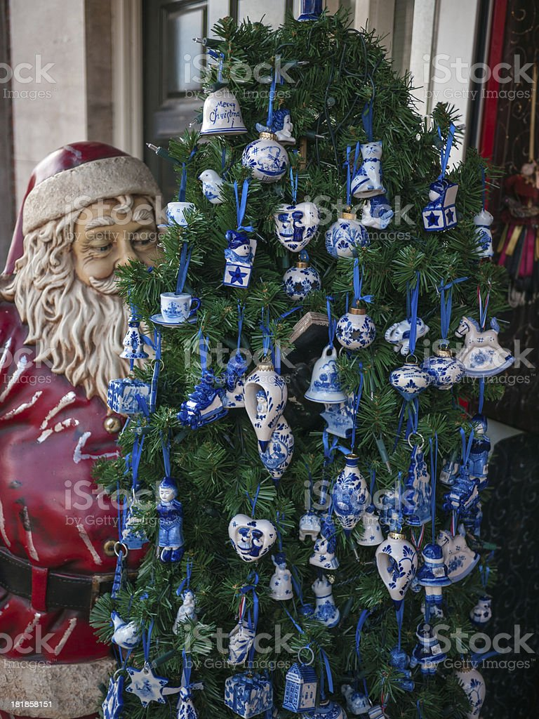 Delfts Blue in the Christmas tree stock photo