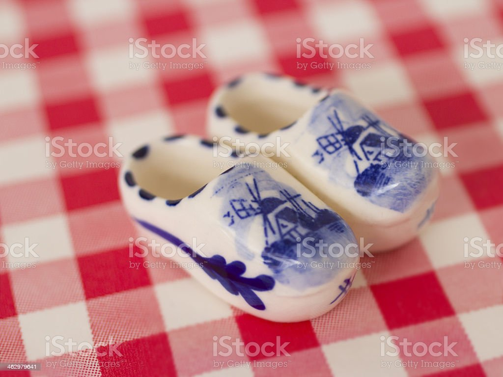 Delfts blue mini clogs stock photo