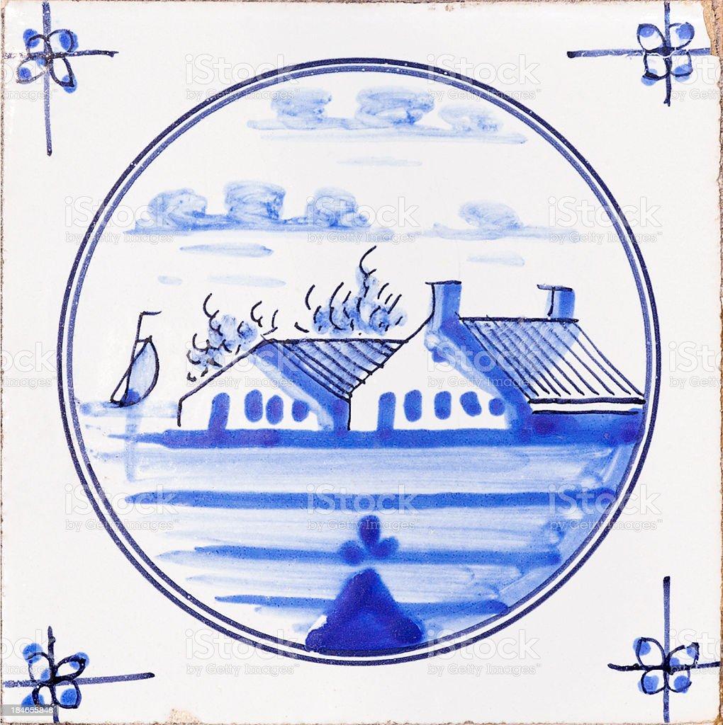 Delfts blue tile stock photo