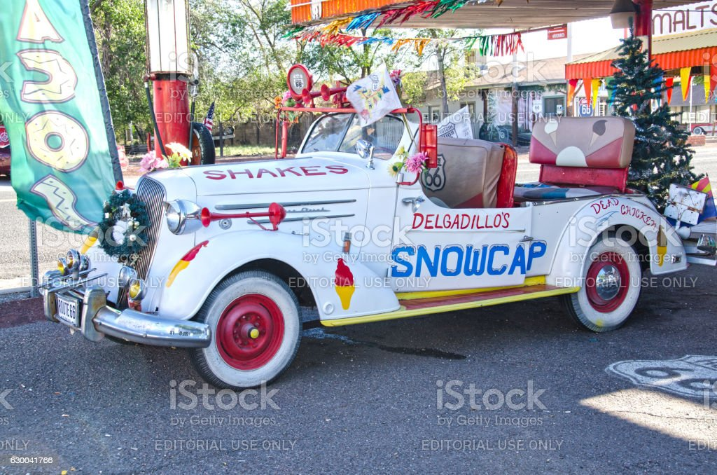 Delgadillo's Snow Cap Drive In Car on Route 66 stock photo