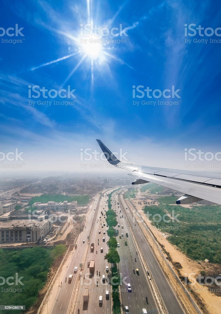 Delhi Gurgaon Highway through the window of a passenger plane stock photo