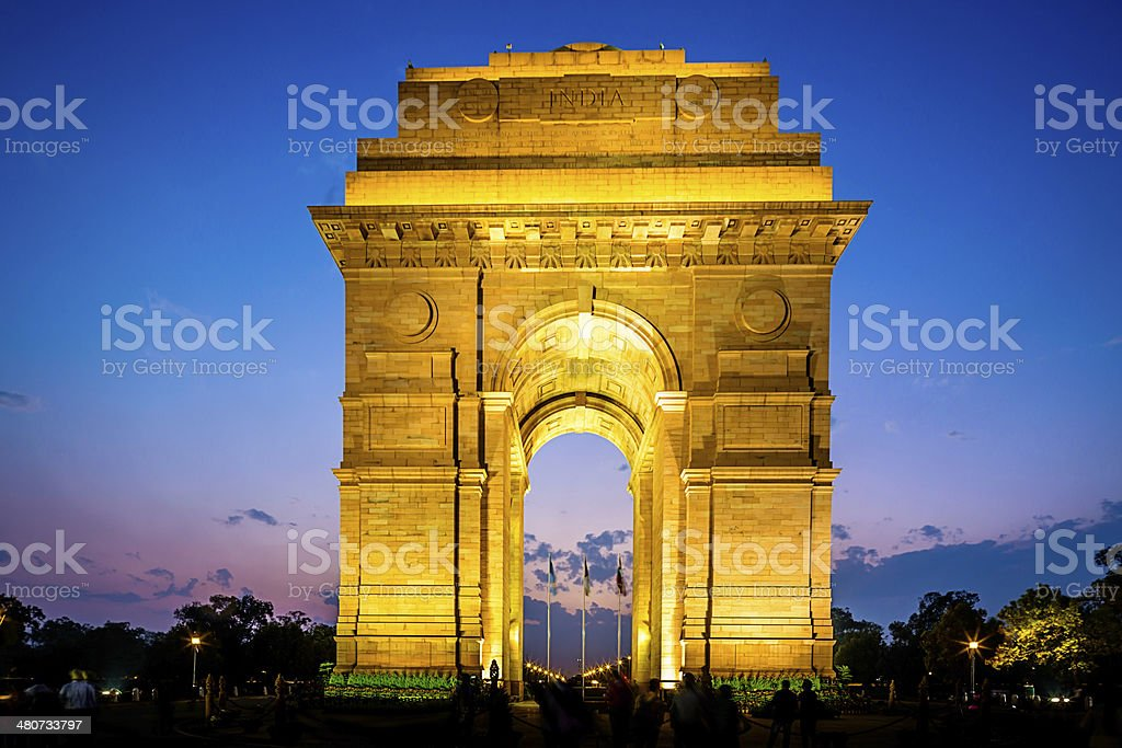 Delhi India Gate at Night stock photo