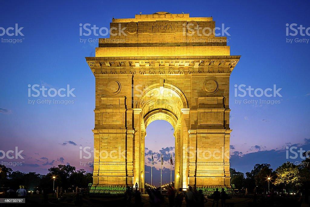 Delhi India Gate at Night stock photo