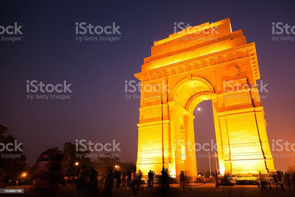 Delhi India Gate Illuminated Dusk Scene royalty-free stock photo