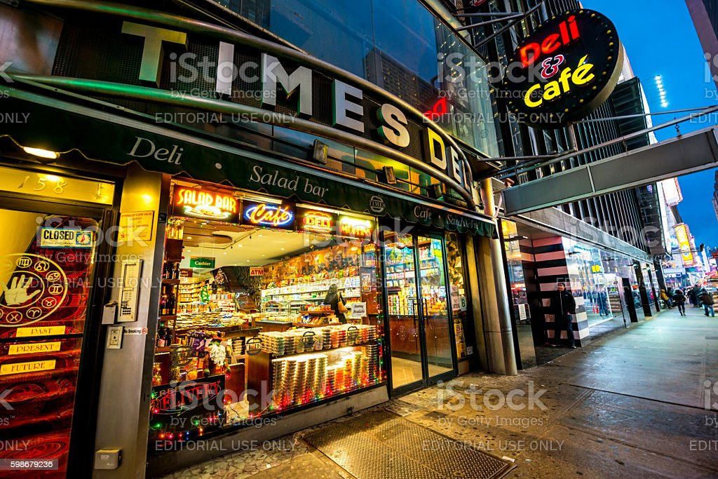 Deli and cafe on Times Square, NYC, USA stock photo