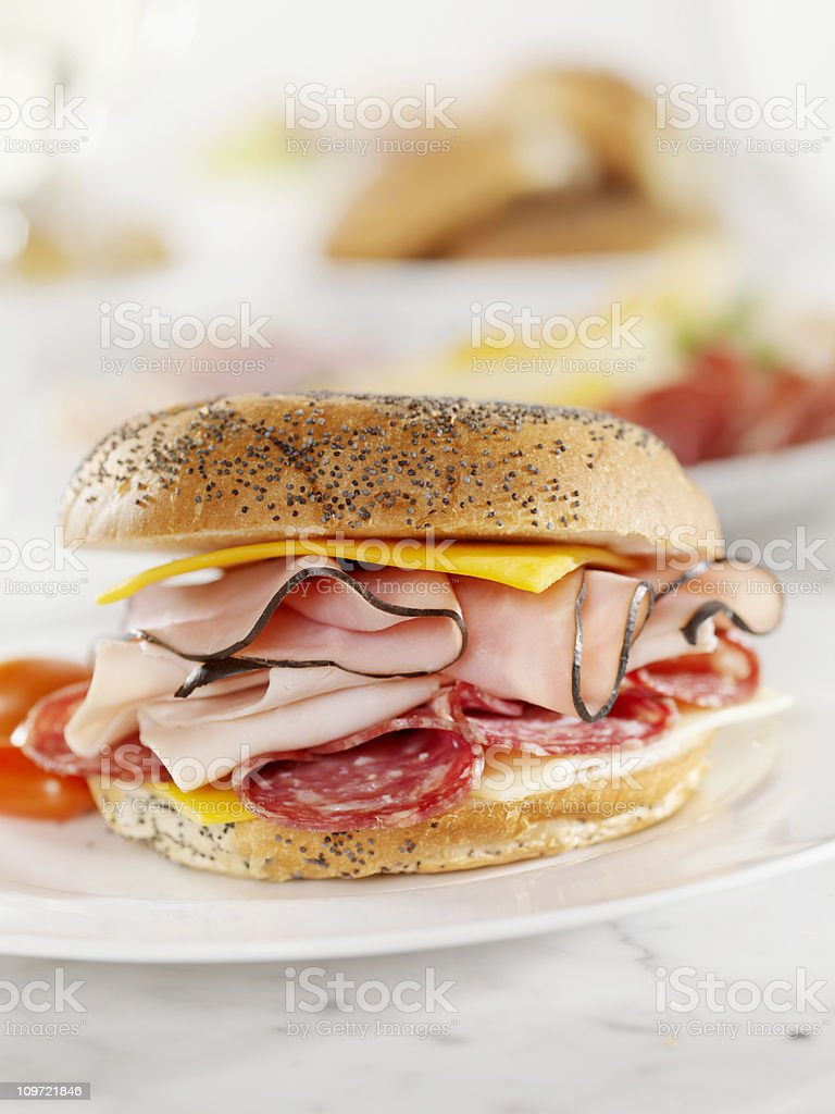 Deli Meat and Cheese Sandwich stock photo
