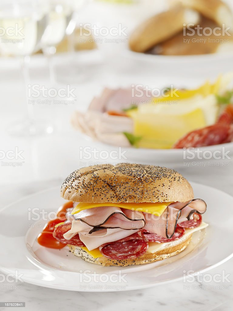 Deli Meat and Cheese Sandwich royalty-free stock photo