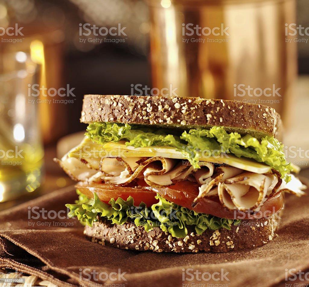 deli meat sandwich with turkey stock photo
