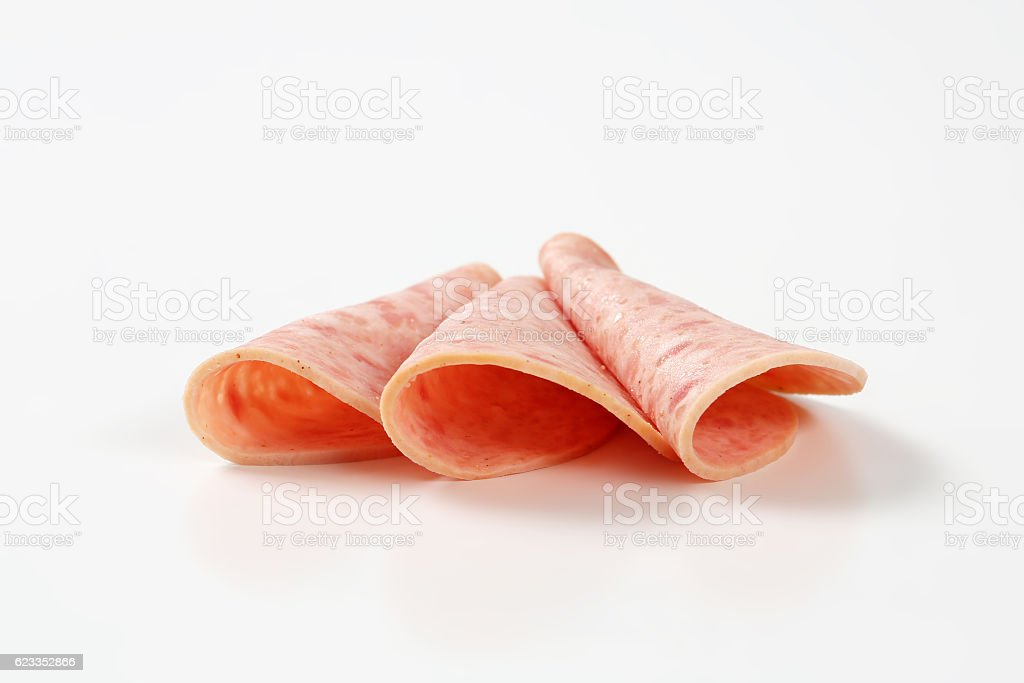 deli meat sausage slices stock photo