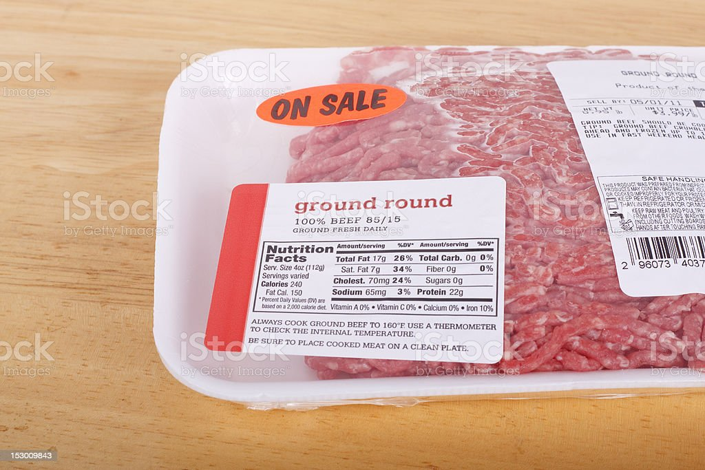 Deli package of fresh ground round beef that is on sale stock photo
