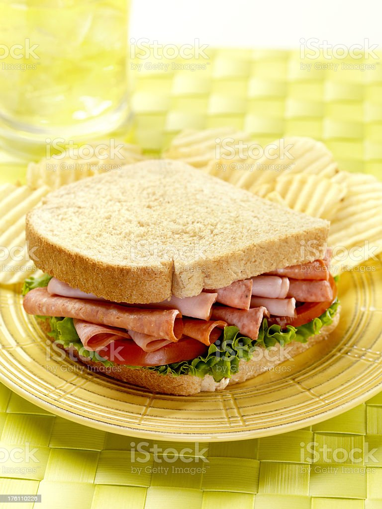 Deli Sandwich with Potato Chips royalty-free stock photo