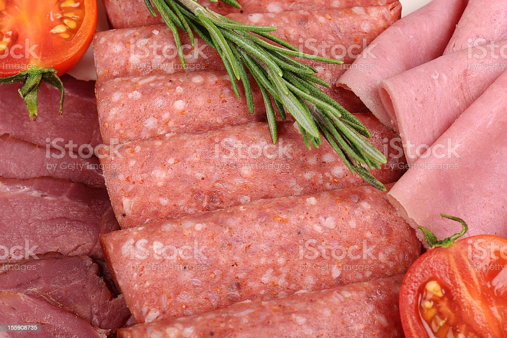 Deli sliced meat stock photo