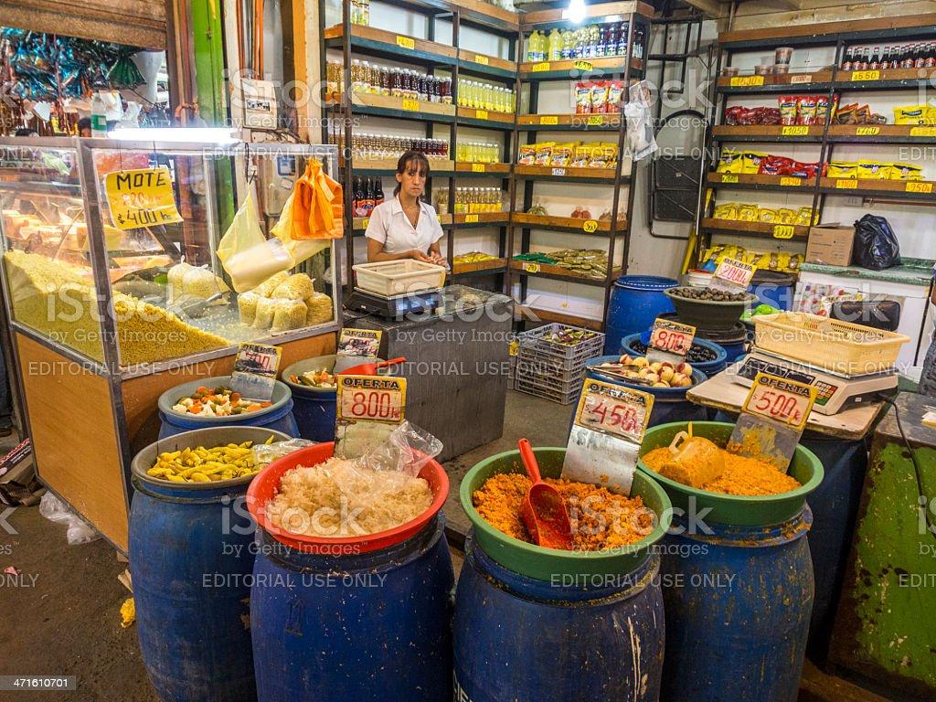Deli stall at the Market, Santiago de Chile stock photo