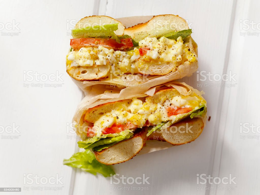 Deli Style Egg Salad Bagel Sandwich stock photo