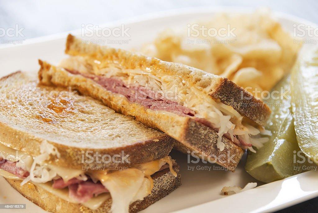 Deli style grilled Reuben sandwich stock photo
