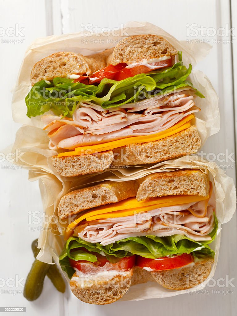 Deli Style Turkey Bagel Sandwich stock photo