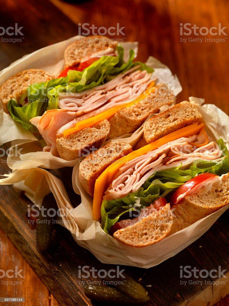 Deli Style Turkey Bagel Sandwich stock photo