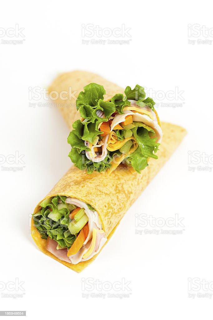 Deli Tortilla Wrap Cut in Half royalty-free stock photo
