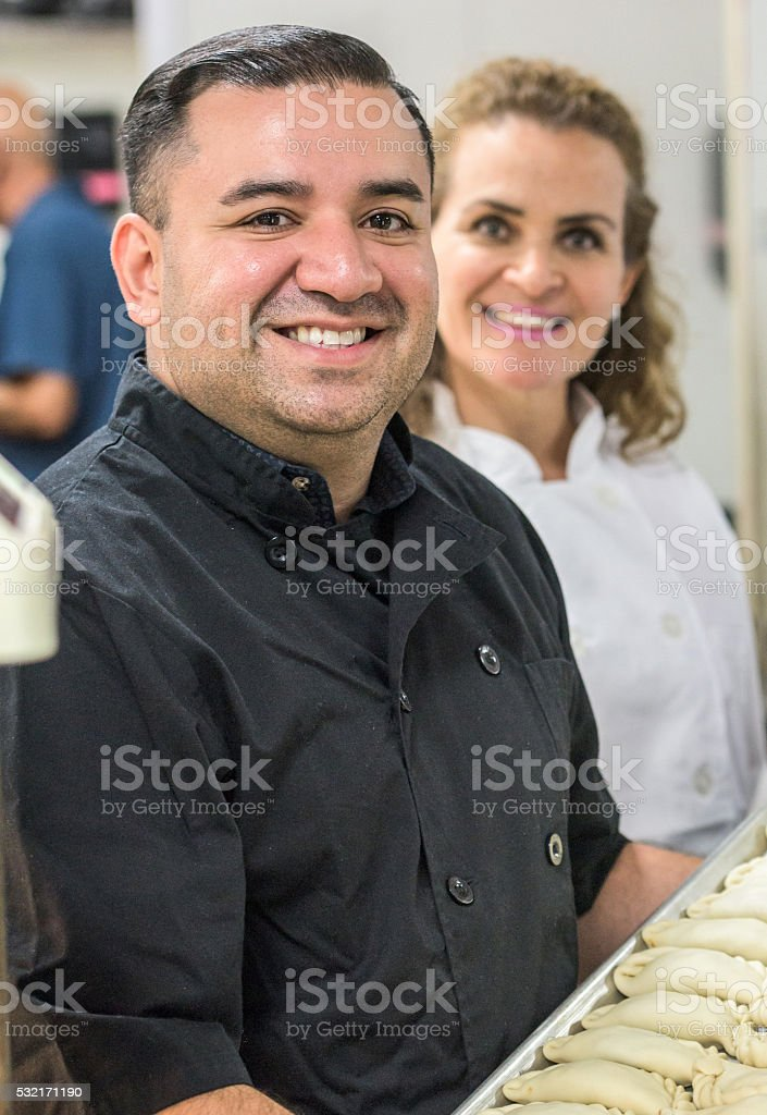 Deli Workers posing Smiling stock photo