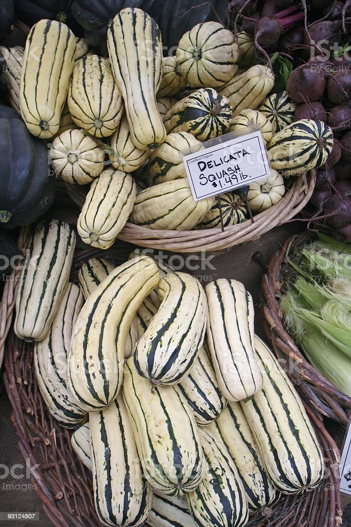 Delicata Squash at the Farmer's Market stock photo