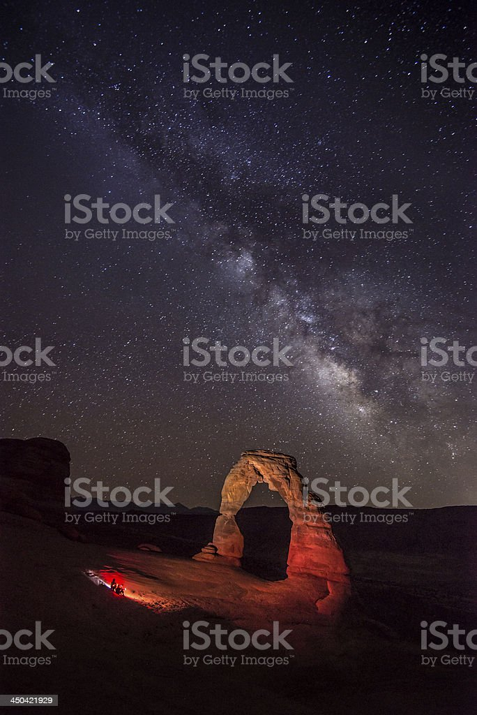 Delicate arch and milky way stock photo