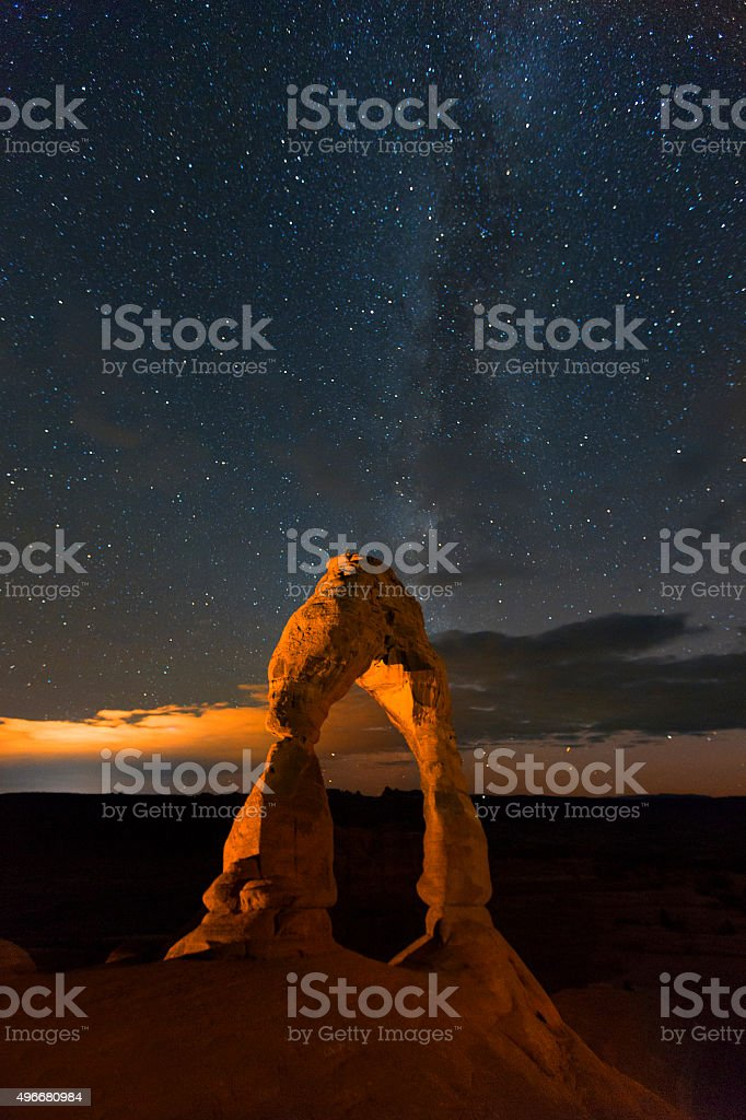 Delicate Arch at Night stock photo