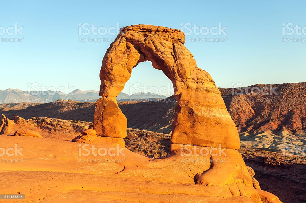 Delicate Arch at Sunset Utah USA stock photo