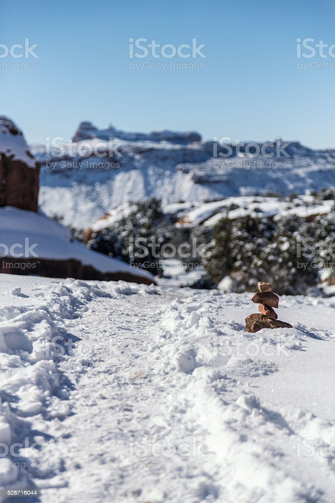 Delicate Arch Hiking Trail Cairn Rock Pile Marker stock photo