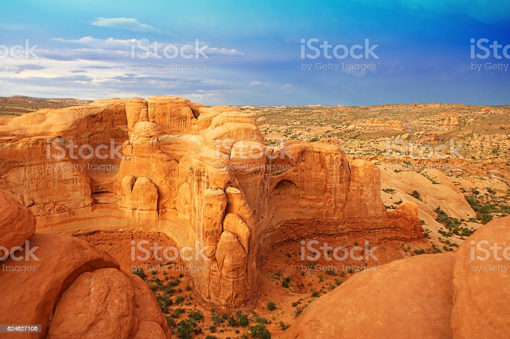 Delicate Arch Hiking Trail in Arches National Park, Utah USA stock photo