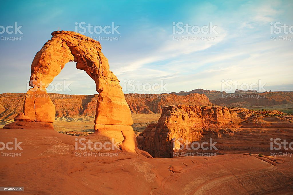 Delicate Arch in Arches National Park at Sunset stock photo