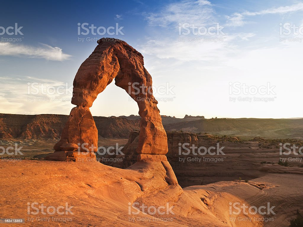 Delicate arch rock formation stock photo