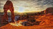 Delicate Arch, Snow, Swirly Basin, Sunset, Arches National Park, Utah
