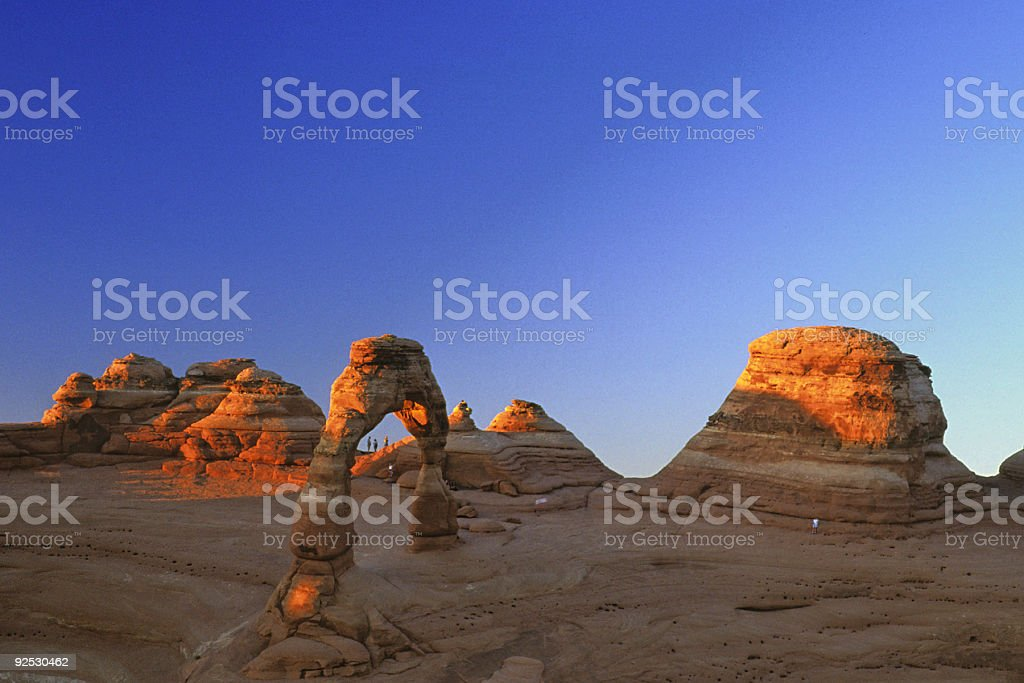 delicate arch sunset stock photo