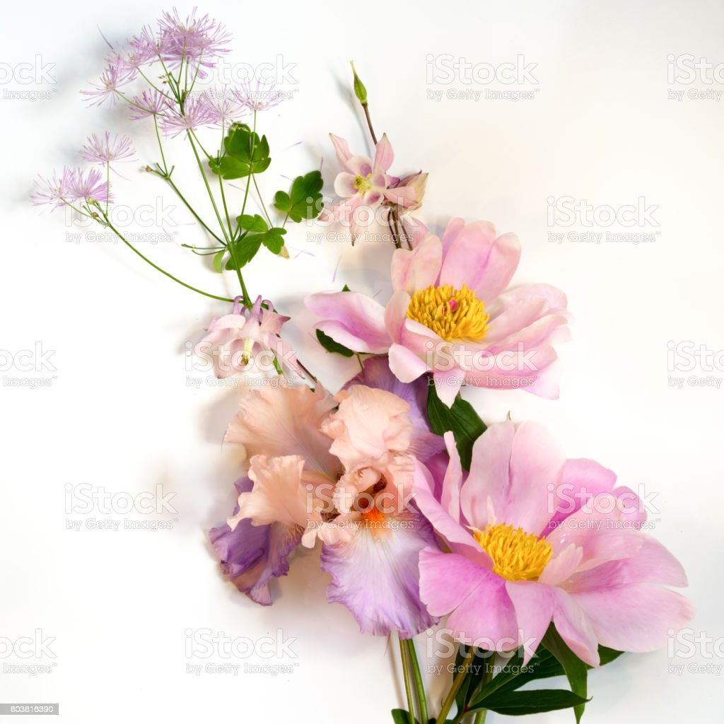 Delicate background of tree-like peony, iris and wild flowers bouquet, top view. stock photo