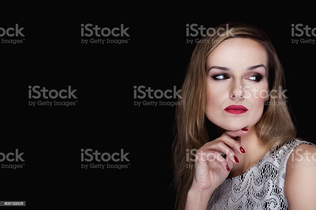 Delicate beauty underlined by classic makeup stock photo